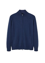 Mango Men's Cotton Cashmere Blend Cardigan Navy