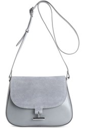 Halston Leather And Suede Shoulder Bag Gray