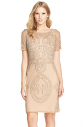 Js Collections Beaded Mesh Sheath Dress Thistle