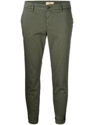 Fay Cropped Slim Fit Trousers Green