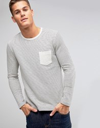 Selected Homme Long Sleeve Top In Textured Stripe With Contrast Pocket Snow White Cream