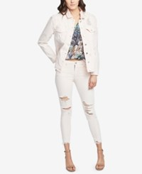 Rachel Roy Ripped Denim Jacket Carnation
