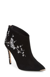 Ted Baker London Novelty Embroidered Bootie Black Suede