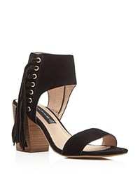 Steven By Steve Madden Fringe Check High Heel Sandals Black
