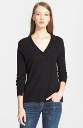 Rag Bone Jean 'Leanna' Merino Wool V Neck Sweater Black