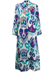 Anjuna Long Printed Shirt Dress Blue