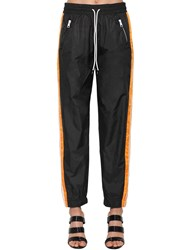 Kenzo Color Block Nylon Track Pants W Bands Black Orange