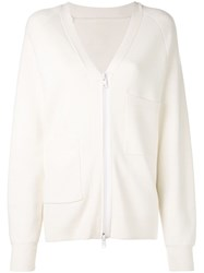 Tibi Compact Wool Blend Cardigan White