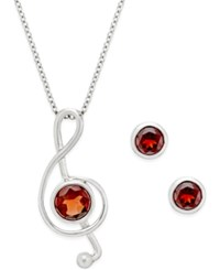 Victoria Townsend Garnet 2 1 5 Ct. T.W. Musical Note Pendant Necklace And Earrings Set In Sterling Silver