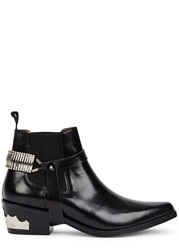 Toga Pulla Black Harness Embellished Leather Ankle Boots