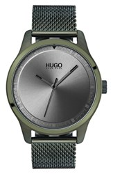 Hugo Move Mesh Strap Watch 42Mm Olive Green Grey