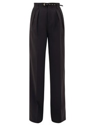 Red Valentino Redvalentino Belted Double Pleat Straight Leg Crepe Trousers Black