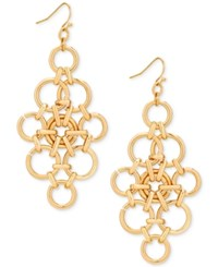 Guess Gold Tone Circle Link Chandelier Earrings