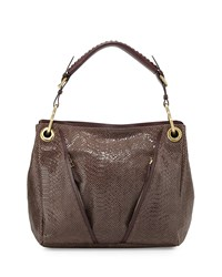 Oryany Bette Medium Embossed Leather Shoulder Bag Taupe Brown