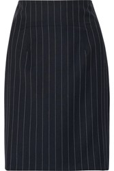 Roberto Cavalli Pinstriped Wool Blend Mini Skirt Midnight Blue