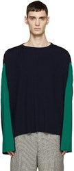 Loewe Navy And Green Oversized Plissa Sweater