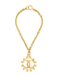 Chanel Vintage Vintage Cc Logo Sunburst Necklace Metallic