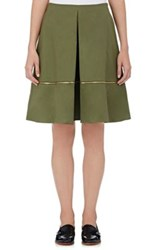 Harvey Faircloth Women's Cotton Pleated Skirt Dark Green