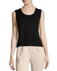 Ming Wang Studded Trim Scoop Neck Tank Black