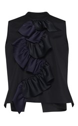 Maison Rabih Kayrouz Sleeveless Cotton Poplin Blouse Black