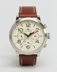 Tommy Hilfiger Jake Chronograph Leather Watch In Brown 1791230 Brown