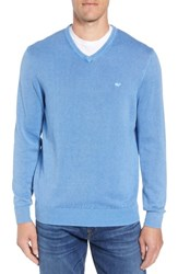 Vineyard Vines Cotton And Cashmere V Neck Sweater Hull Blue