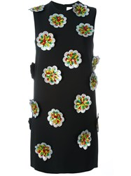 Victoria Beckham Floral Applique Shift Dress Black