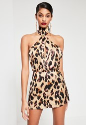 Missguided Brown Leopard Print High Neck Halter Silky Playsuit