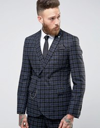 Noose And Monkey Woven In England 100 Wool Overcheck Db Suit Jacket With Chain In Skinny Fit Grey