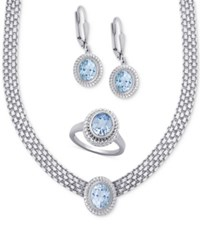 Macy's Blue Topaz Collar Necklace Drop Earrings And Ring Set 10 Ct. T.W. In Sterling Silver