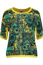 M Missoni Printed Silk Chiffon And Jersey Top Yellow