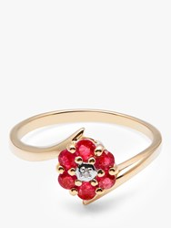A B Davis 9Ct Gold Ruby And Diamond Flower Cocktail Ring Gold Red
