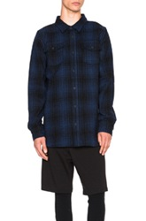 Off White Tartan Button Up In Blue Checkered And Plaid