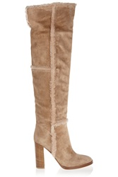 Gianvito Rossi Shearling Trimmed Suede Over The Knee Boots
