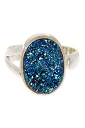Mistraya Jewelry Sterling Silver Titanium Druzy Ring Green