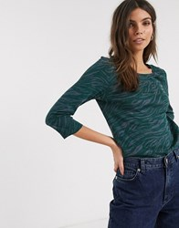 Esprit Abstract Zebra Print Top With Sleeves In Green Navy