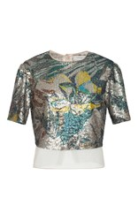 Carolina Herrera Magnolia Sequin Crop Top Multi
