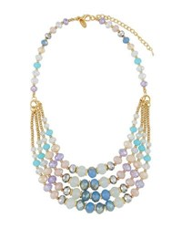 Emily And Ashley Multi Row Simulated Crystal Necklace Purple