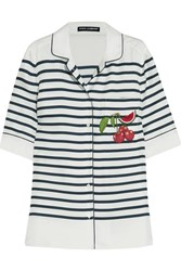 Dolce And Gabbana Appliqued Striped Silk Twill Shirt White