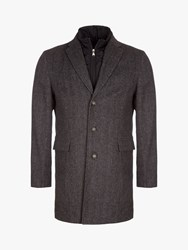 Eden Park Herringbone 2 In 1 Overcoat Grey