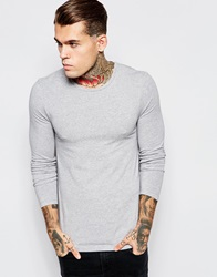Asos Extreme Muscle Fit Long Sleeve T Shirt With Crew Neck Greymarl