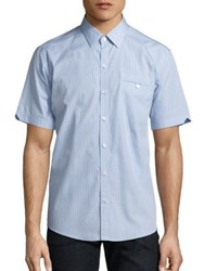 Zachary Prell Micro Check Button Up Shirt Light Blue