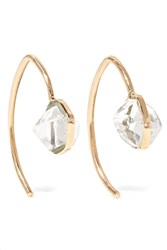 Melissa Joy Manning Mini Wishbone 14 Karat Gold Herkimer Diamond Earrings One Size