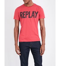 Replay Logo Print Cotton Jersey T Shirt Spring Red