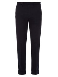 Gucci Straight Leg Flannel Wool Blend Trousers
