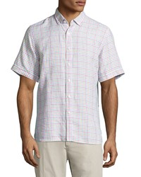 Neiman Marcus Linen Check Short Sleeve Shirt Candy