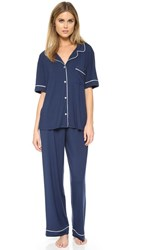 Eberjey Gisele Short Sleeve Pj Set Navy Ivory