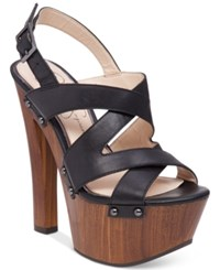 Jessica Simpson Damelo Strappy Wood Heel Platform Sandals Women's Shoes Black