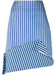 Ports 1961 Striped Asymmetric Skirt Women Silk Cotton Polyester 40 Blue