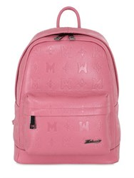 Metrocity Logo Embossed Leather Backpack